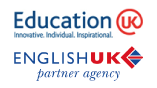 Logotipo de English Education y logo de Education UK
